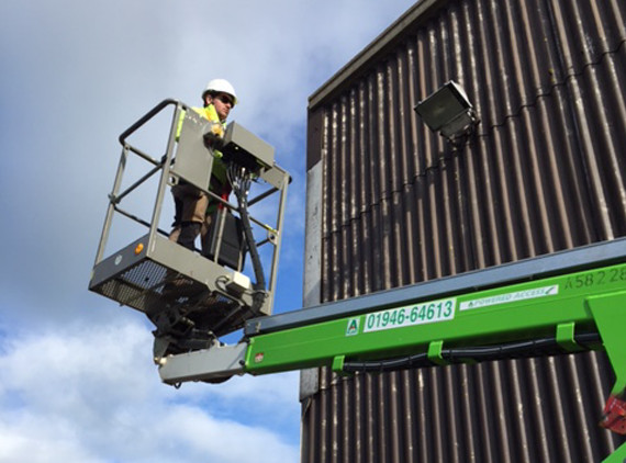 cherry picker at outdoor lighting